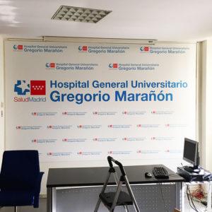 Vinilo impreso laminado de pared para Sala Prensa Gregorio Marañón